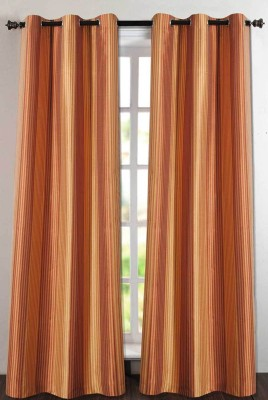 Deco Essential Polyester Rust/Gold Plain Eyelet Door Curtain