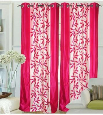 K Decor Polyester Pink Printed Eyelet Door Curtain