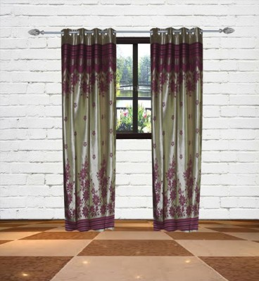 Gaurav Curtains Polyester Gold Floral Eyelet Door Curtain