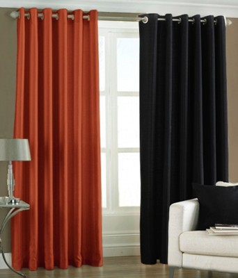 Panipat Textile Hub Polyester Rust, Black Plain Eyelet Door Curtain