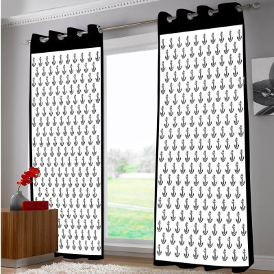 Right Polyester Black, White Abstract Eyelet Door Curtain