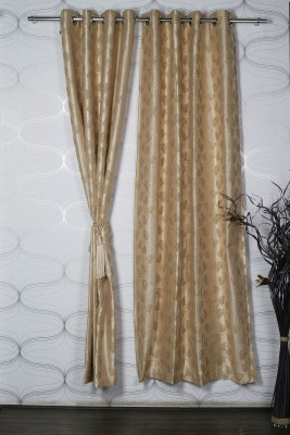 Homelife Polyester Gold, Yellow Self Design Eyelet Door Curtain