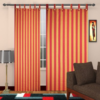 TG Shoppers Cotton Red, Orange Striped Curtain Door Curtain