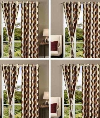 Decorlife Polyester Brown Printed Eyelet Door Curtain