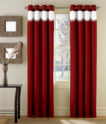 TT Polyester Maroon Abstract Eyelet Door Curtain