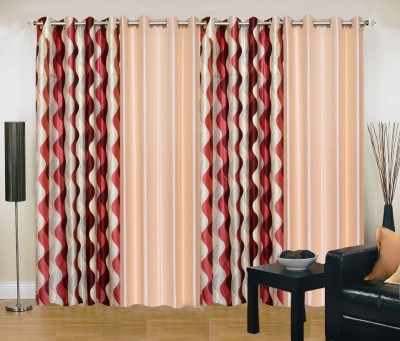 New Trends Polyester Maroon, Beige Printed Eyelet Window Curtain