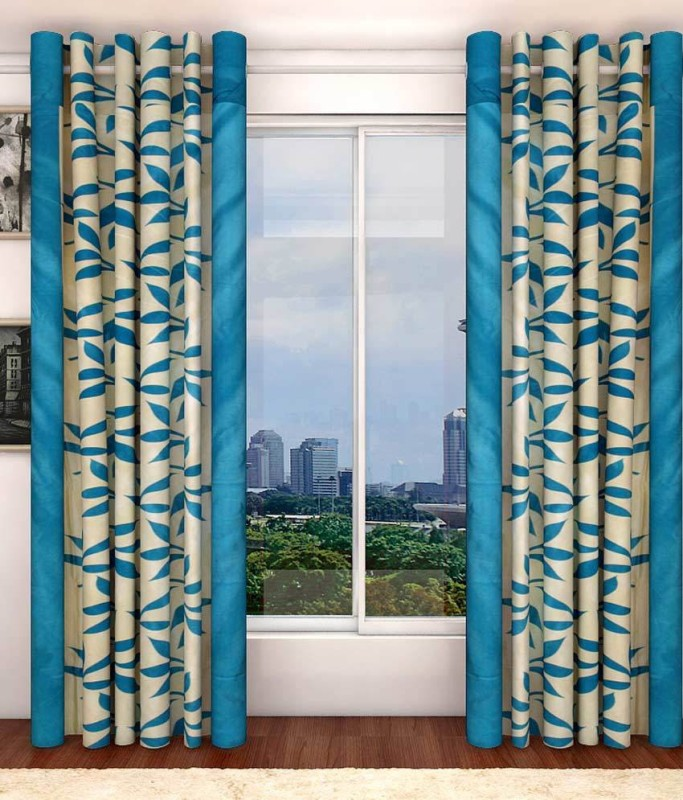 Pag Polyester Blue Kolaveri Floral Eyelet Window & Door Curtain(210 cm in Height, Pack of 2)