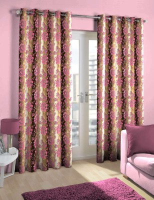 Skipper Polyester Pink/Brown Floral Eyelet Door Curtain