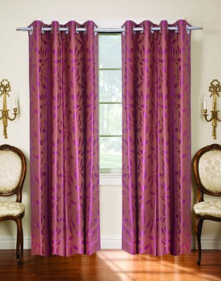 Trendy Home Polyester Purple Printed Eyelet Door Curtain