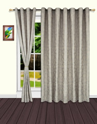 S9home by Seasons Polyester Grey Floral Eyelet Door Curtain