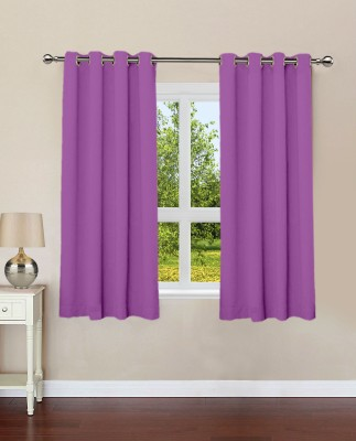 Lushomes Cotton Royal Lilac Plain Eyelet Window Curtain