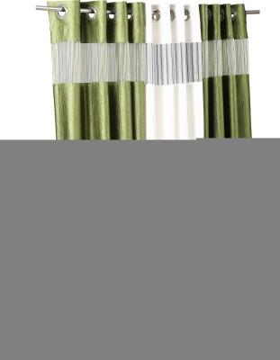 Store17 Polyester Brown & Creem Self Design Ring Rod Door Curtain
