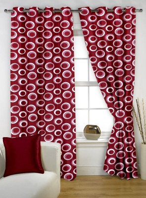Story @ Home Polyester Maroon Printed Eyelet Window Curtain