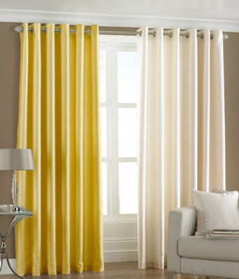 Homesazz Polyester Multicolor Solid Eyelet Door Curtain