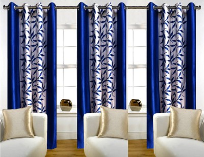 White Wave Polyester Printed Blue Solid Tab Top Door Curtain