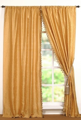Deco Window Polyester Gold Abstract Eyelet Window Curtain