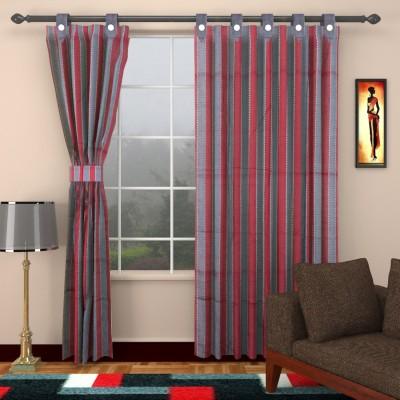 Elegance Handlooms AW9 Cotton Dark Red, Dark Green Striped Concealed Tab Top Window Curtain