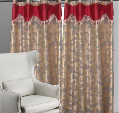 Indiatradeus Polyester Grey Geometric Eyelet Door Curtain