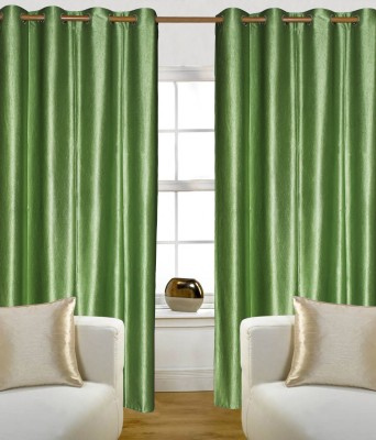 Madavs Polyester Green Solid Eyelet Window Curtain