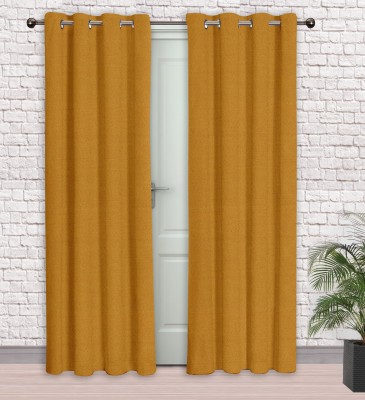 Story @ Home Jacquard Mustard Printed Eyelet Door Curtain