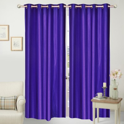 Home Fashion Polyester Blue Plain Eyelet Door Curtain