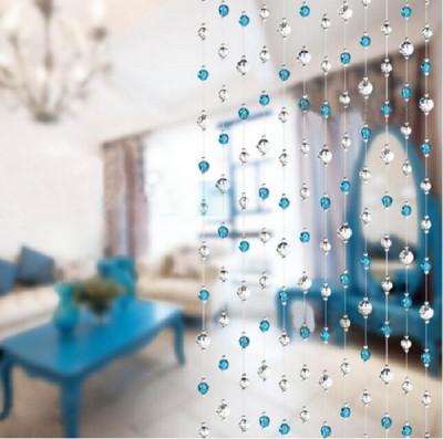 Rasmy Home Decor PVC White, Blue Self Design Curtain Window & Door Curtain