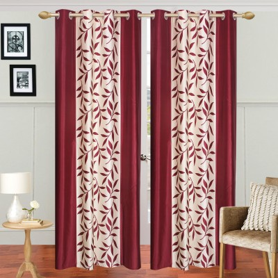 Galaxy Home Furnishing Polyester Maroon Floral Eyelet Door Curtain