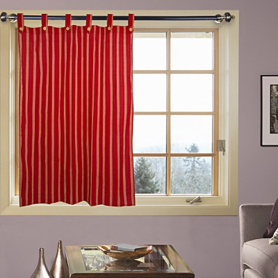 Handloom Factory Cotton Red Striped Tab Top Window Curtain