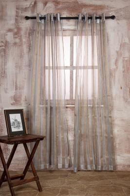 Marigold Polyester LIGHT SKY BLUEBEIGE Striped Curtain Door Curtain