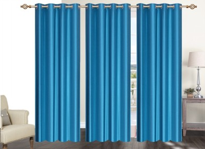 Furnishing Zone Polyester Light Blue Plain Eyelet Long Door Curtain