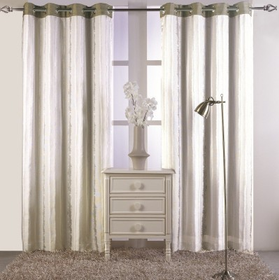 KC HOME Polycotton White, Grey Abstract Curtain Door Curtain