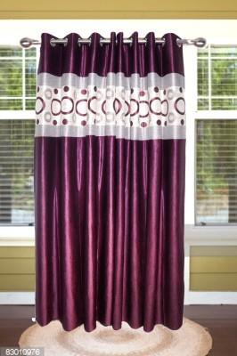 shoppeholics Silk Purple Self Design Curtain Door Curtain