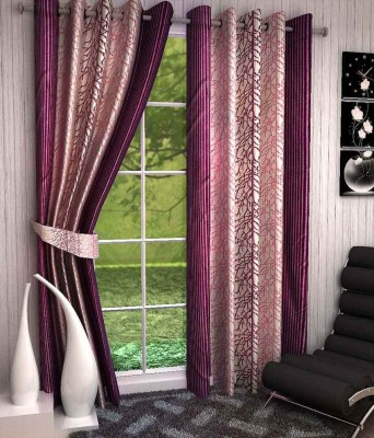 Kanha Polyester Multicolor Floral Eyelet Window Curtain