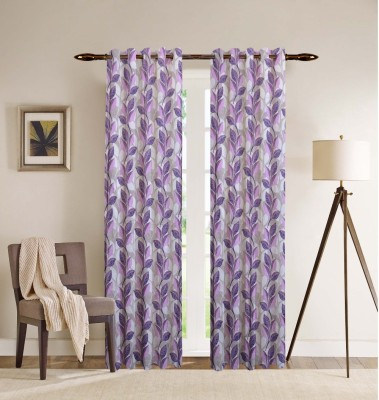 PHF Polyester Purple Floral Eyelet Door Curtain
