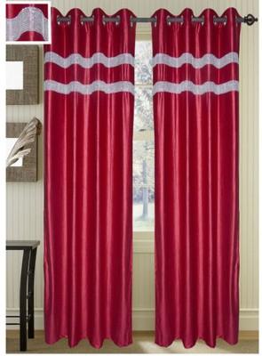 Swastik Polycotton Multicolor Plain Eyelet Long Door Curtain