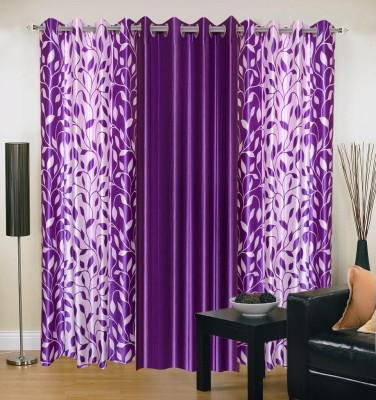 Brand Decor Polyester Purple Floral Eyelet Window Curtain