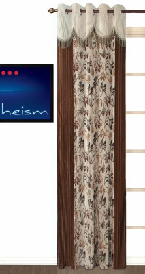 Fabutex Polyester Brown Floral Eyelet Door Curtain