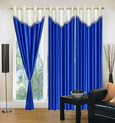 Brand Decor Polyester Blue Solid Eyelet Long Door Curtain