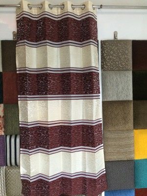 Royal Polyester Maroon, Cream Floral Curtain Door Curtain