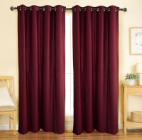 Home Candy Polyester Maroon Floral Eyelet Door Curtain(212 cm in Height, Pack of 2)