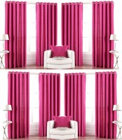 Galaxy Decorations Polyester Pink Plain Eyelet Door Curtain(82 cm in Height, Pack of 8)