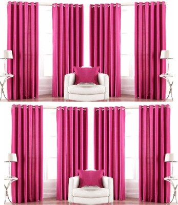 Galaxy Decorations Polyester Pink Plain Eyelet Door Curtain