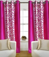 Ville Style Polyester Pink Floral Eyelet Door Curtain(2 m in Height, Pack of 2)