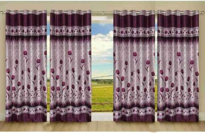 New Trends Polyester Red Printed Eyelet Door Curtain