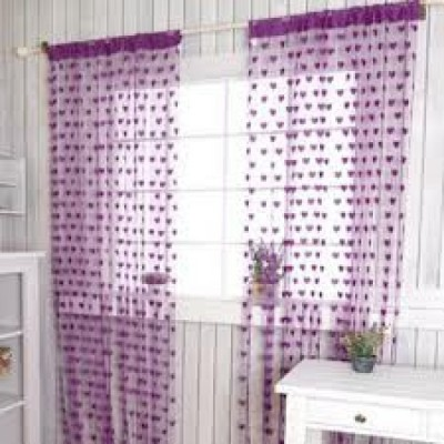 Msept Polyester Purple Printed Eyelet Window & Door Curtain