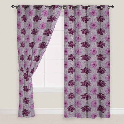 Presto Polyester Pink, Grey Floral Eyelet Long Door Curtain
