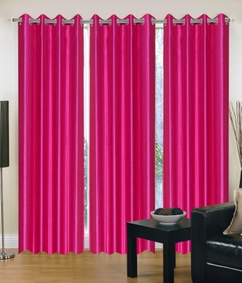 Chaitnya Handloom Polyester Pink Plain Eyelet Door Curtain
