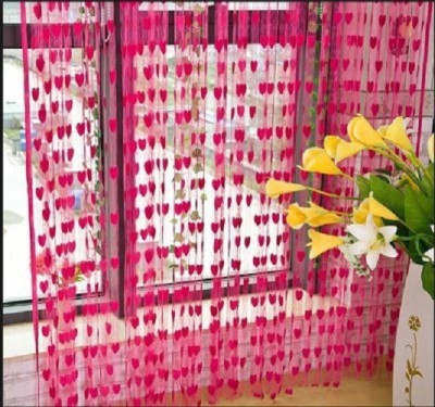 Z Decor Polyester Pink Abstract Eyelet Window & Door Curtain