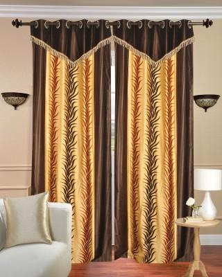 Daddyhomes Polyester Beige Solid Eyelet Door Curtain
