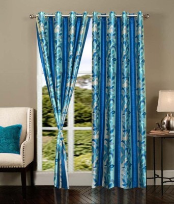 PHF Polyester aqua blue Floral Eyelet Door Curtain